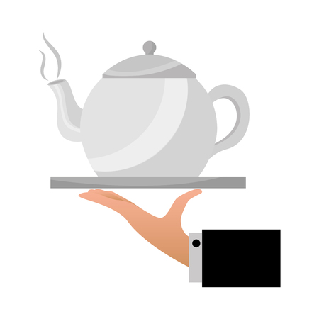 hand with teapot on tray service vector illustration