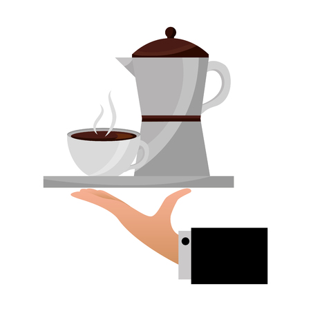 hand holding coffee maker and cup on tray vector illustration Illustration