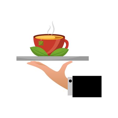 hand tray tea cup hot with leaves bag vector illustration Illusztráció