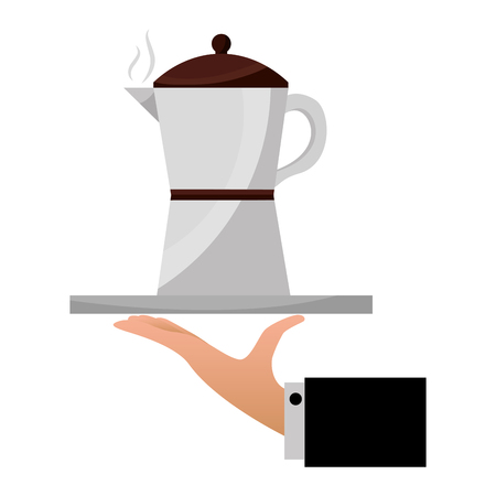 hand holding coffee maker on tray vector illustration Banque d'images - 102504335