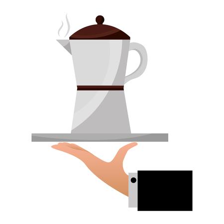 hand holding coffee maker on tray vector illustration Illustration