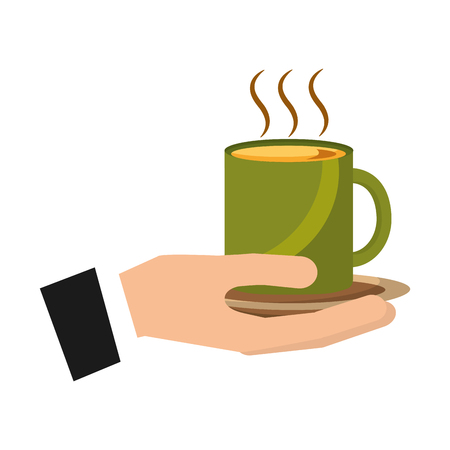 hand holding hot coffee cup on dish vector illustration Çizim