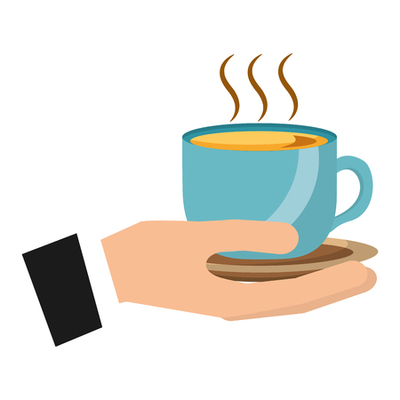 hand holding hot coffee cup on dish vector illustration Foto de archivo - 102504436