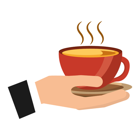 hand holding hot coffee cup on dish vector illustration Stock Illustratie