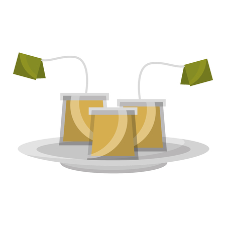 tea bag with label on dish vector illustration Иллюстрация