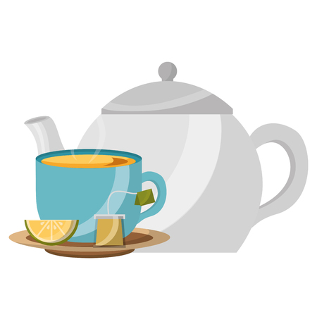 teapot porcelain and cup spoon lemon utensil vector illustration
