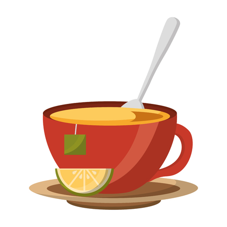 tea cup hot with leaves bag on dish vector illustration