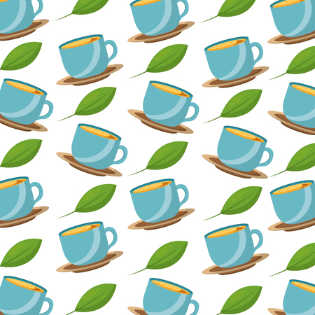 blue coffee cups on dishes mint leaves background vector illustration