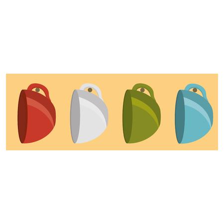 multicolored coffee cup ceramic hanger vector illustration