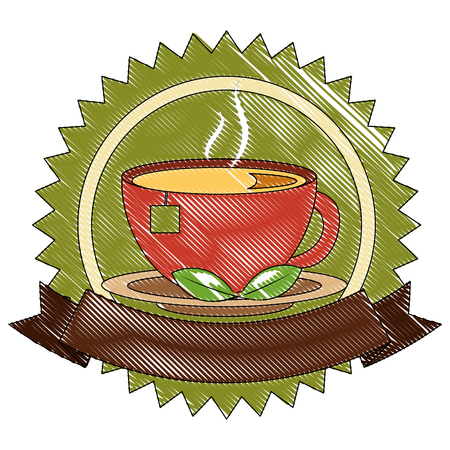 tea cup hot with leaves bag on dish emblem vector illustration drawing