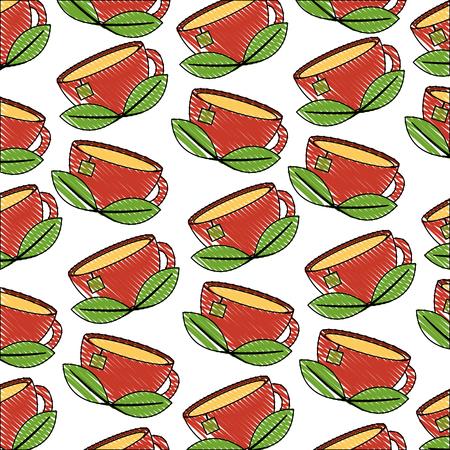 teacup mint leaves beverage background vector illustration drawing