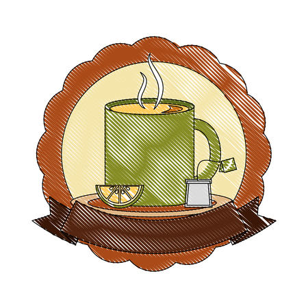 tea cup hot with lemon leaves bag on dish label vector illustration drawing Illusztráció