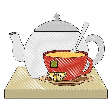 teapot cup porcelain lemon mint leaf teabag traditional vector illustration drawing Illustration