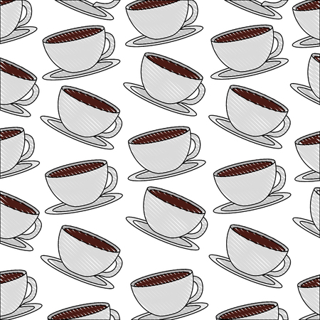 white coffee cups on dish background vector illustration drawing Ilustração