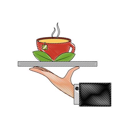 hand tray tea cup hot with leaves bag vector illustration drawing Illusztráció