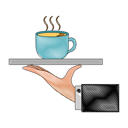 hand holding coffee cup on tray vector illustration drawing