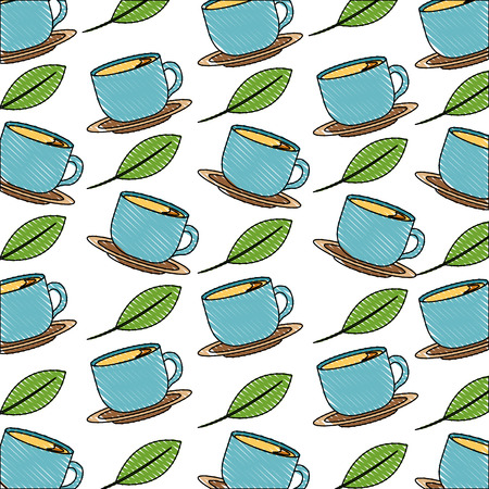 blue coffee cups on dishes mint leaves background vector illustration drawing