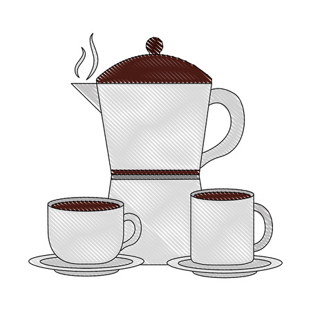 coffee maker cup and mug ceramic dishes vector illustration drawing Standard-Bild - 102504739