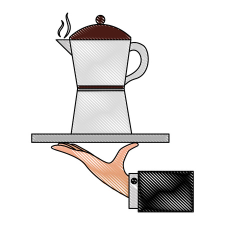 hand holding coffee maker on tray vector illustration drawing Ilustrace