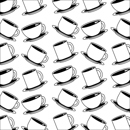 many coffee cups and mugs beverage pattern vector illustration black and white black and white