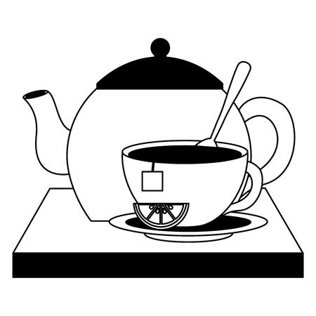 teapot cup spoon lemon teabag traditional vector illustration black and white black and white Illustration