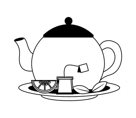teapot porcelain lemon mint leaf teabag traditional vector illustration black and white black and white