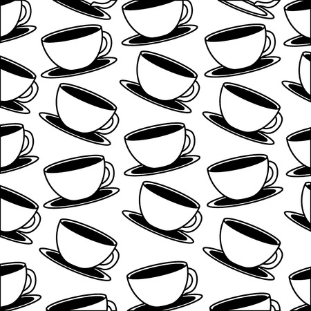 white coffee cups on dish background vector illustration black and white black and white