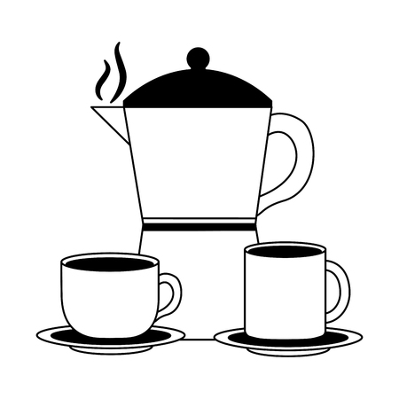 coffee maker cup and mug ceramic dishes vector illustration black and white black and white Banque d'images - 102504812