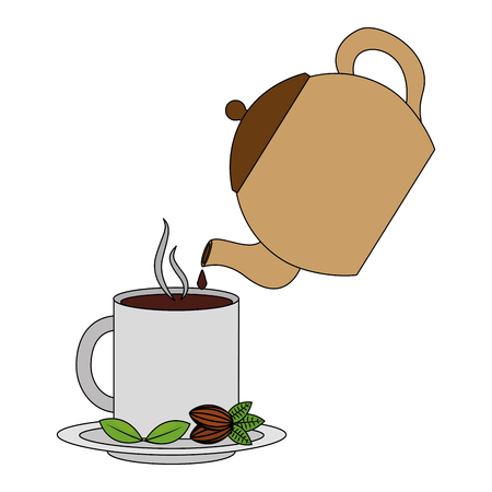 teapot pouring tea on mug on dish vector illustration