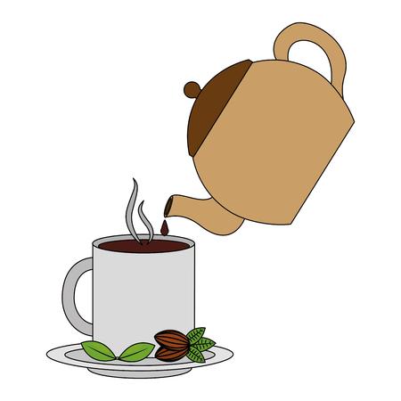 theepot gieten thee op mok op schotel vectorillustratie