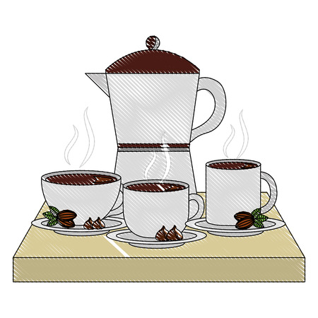 coffee maker and cups on dish beans and chips vector illustration drawing Illustration