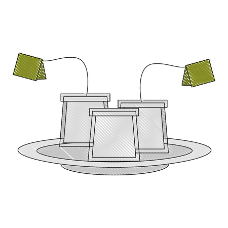 tea bag with label on dish vector illustration drawing Illustration