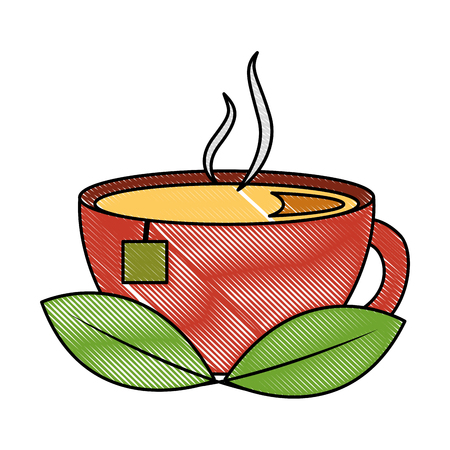 tea cup hot with leaves bag image vector illustration drawing