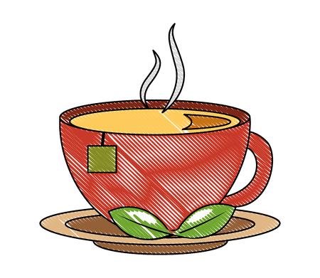 Tasse de thé chaud avec sac de feuilles sur plat dessin illustration vectorielle Vecteurs
