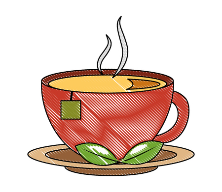 tea cup hot with leaves bag on dish vector illustration drawing