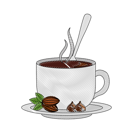 chocolate cup with spoon on dish vector illustration drawing