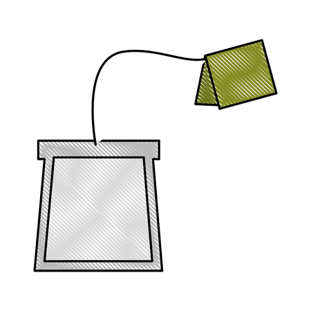 tea bag disposable with label vector illustration drawing Illustration