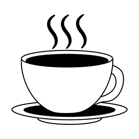 coffee cup hot fresh aroma on saucer vector illustration black and white black and white Illustration