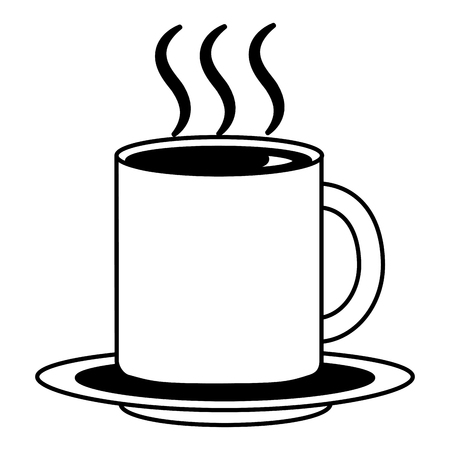 coffee cup hot fresh aroma on saucer vector illustration black and white black and white  イラスト・ベクター素材