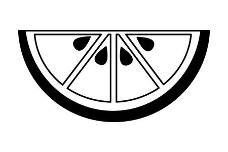slice lemon citurs fresh image vector illustration black and white black and white