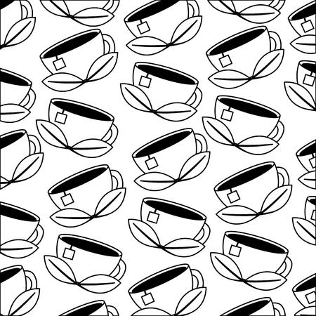 teacup mint leaves beverage background vector illustration black and white black and white 矢量图像