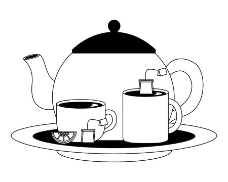 teapot and teacups teabag lemon slice on dish vector illustration black and white black and white Ilustrace