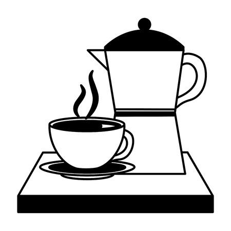 cafetera y taza bebida fresca caliente ilustración vectorial blanco y negro blanco y negro