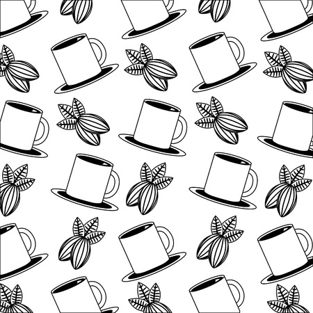 coffee cup and nuts cocoa pattern design vector illustration black and white black and white Çizim