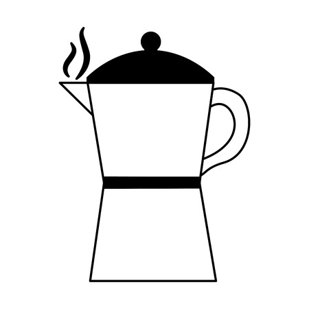 coffee maker and tea pot ceramic kitchen supplies vector illustration black and white black and white Stockfoto - 102505038