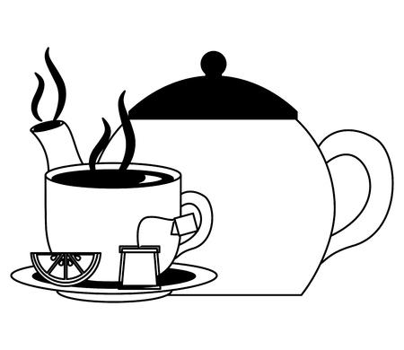 teapot porcelain and cup spoon lemon utensil vector illustration black and white black and white Çizim