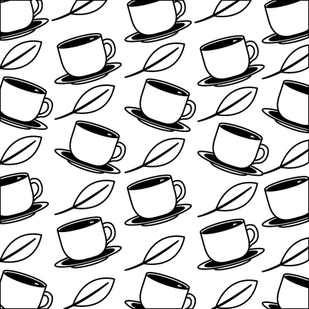 coffee cups on dishes mint leaves background vector illustration black and white black and white
