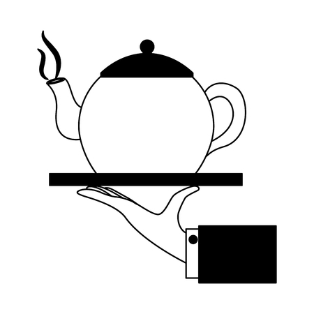 hand with teapot on tray service vector illustration black and white black and white Çizim
