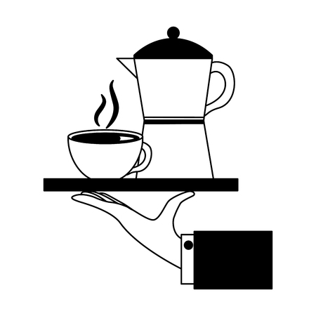 hand holding coffee maker and cup on tray vector illustration black and white black and white Ilustração