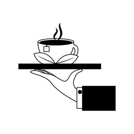 hand tray tea cup hot with leaves bag vector illustration black and white black and white Banque d'images - 102505471